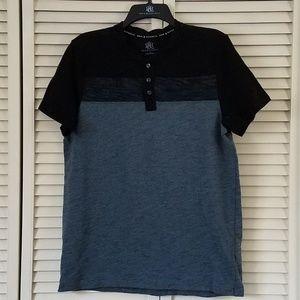 ROCK & REPUBLIC Men's Henley Slate Blue/Gray Shirt